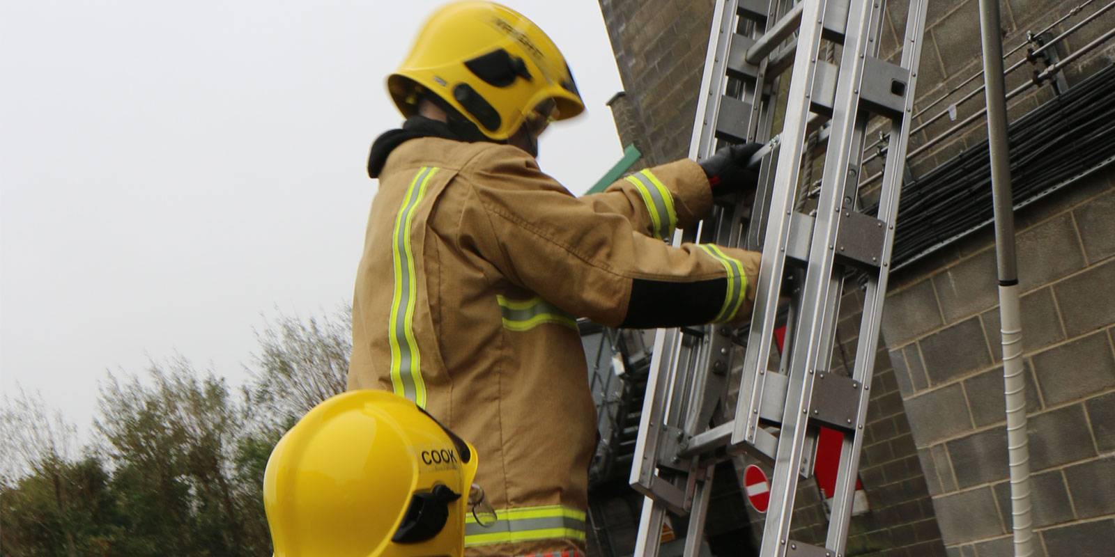 Ellesse climbing a ladder during training